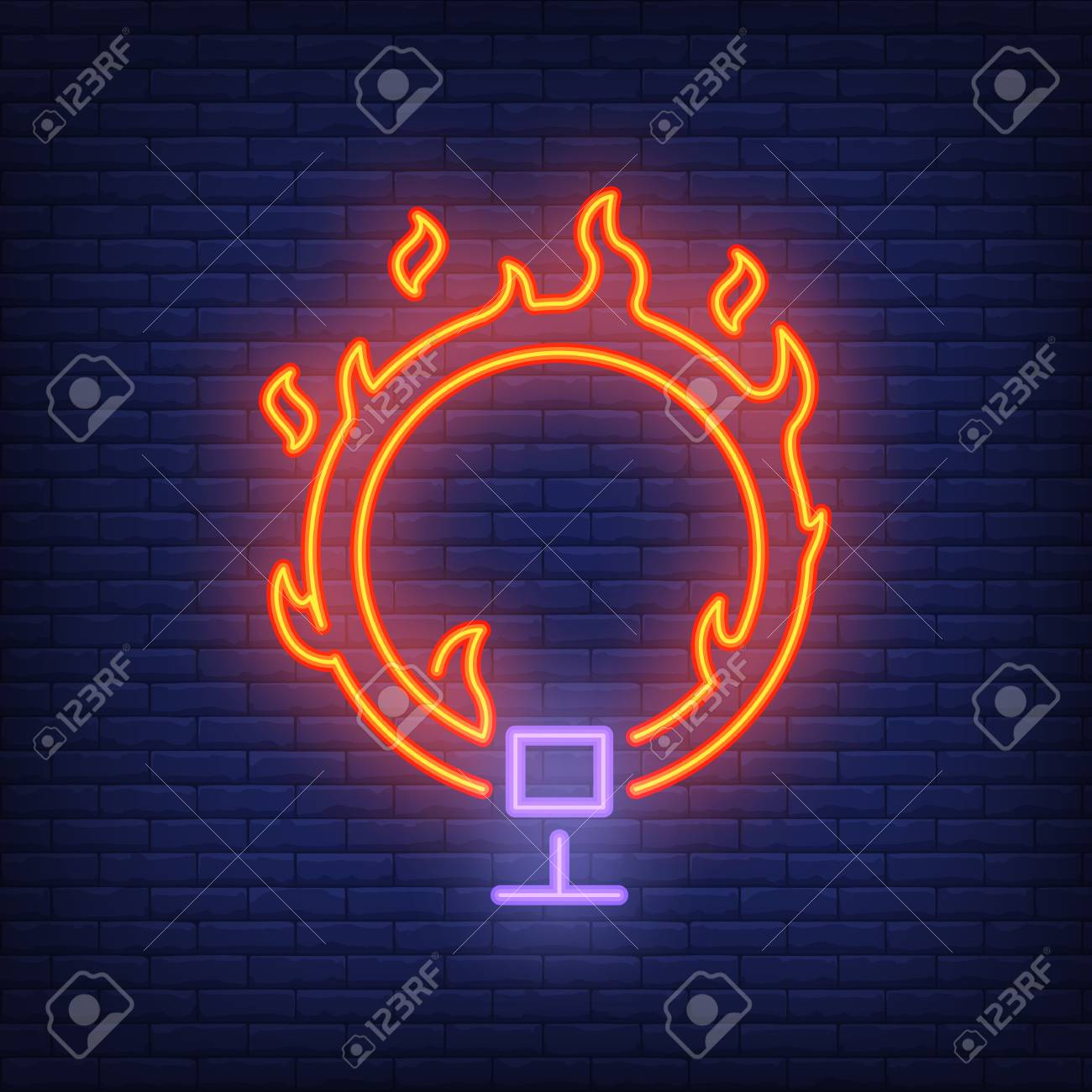 ring on fire neon icon circus flaming hoop on dark brick wall