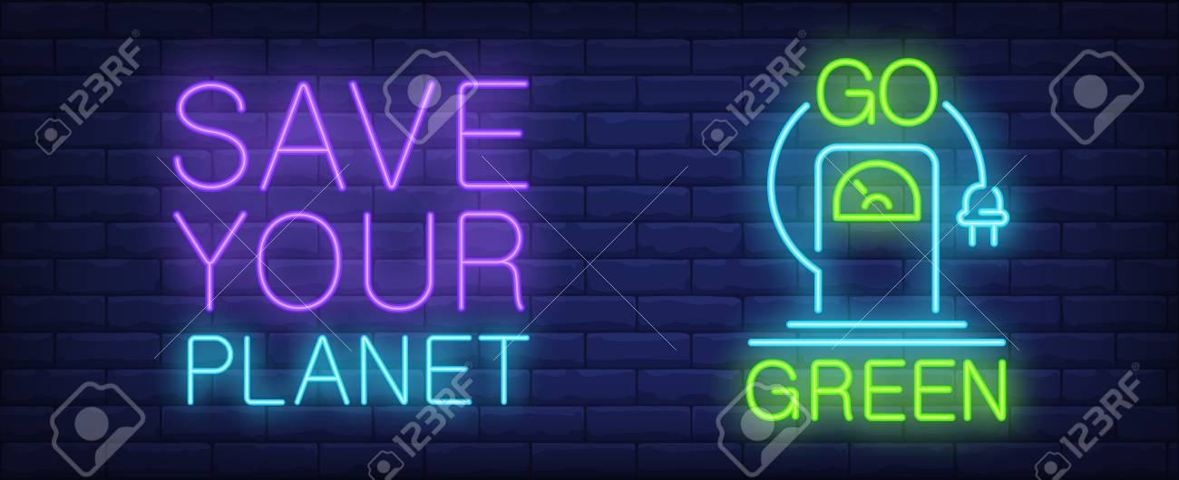 save your planet neon sign electro car charging station with