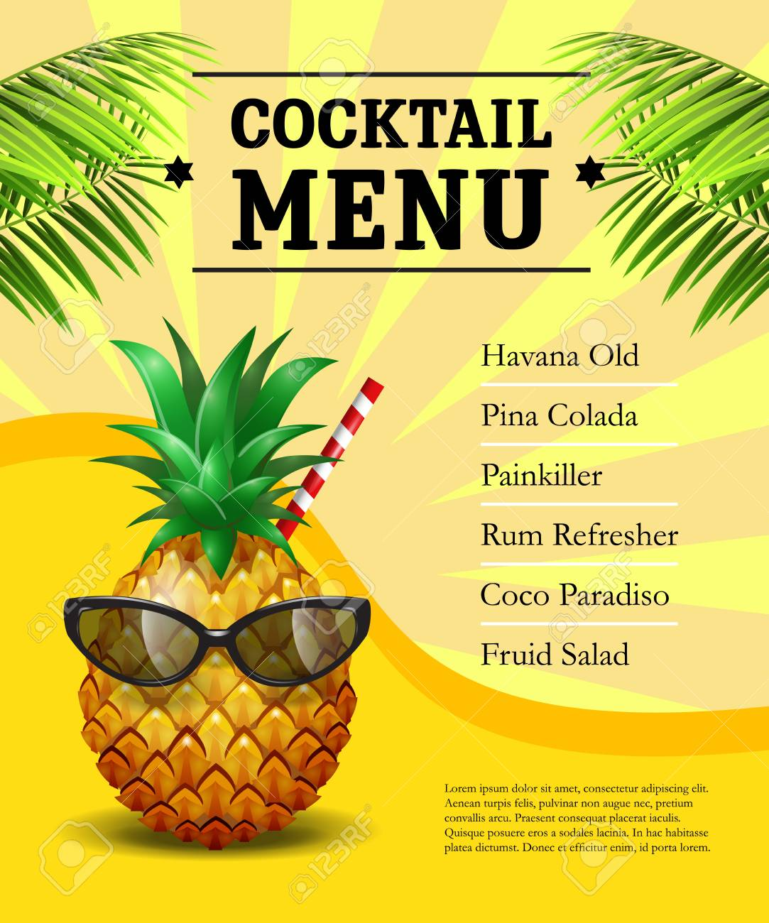 Cocktail Menu Poster Pineapple In Sunglasses And Drinking Straw On Yellow Background With Palm Leaves