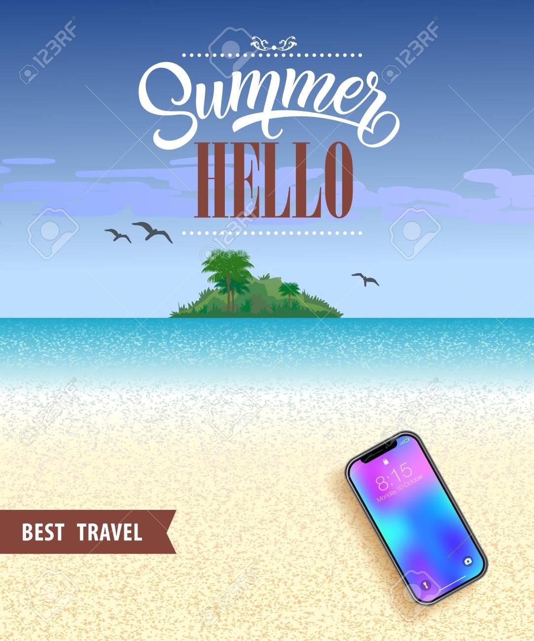 summer hello best travel poster design with ocean beach tropical