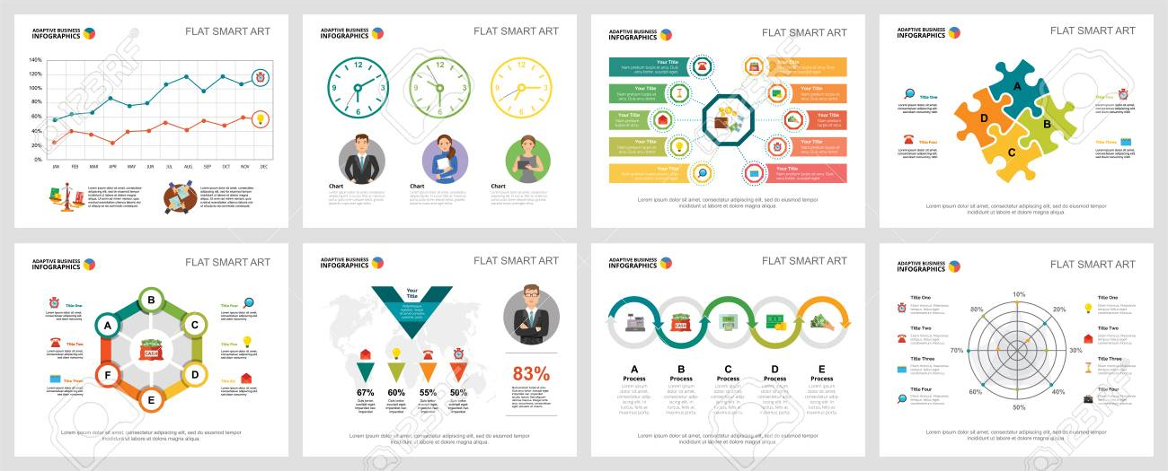 colorful analytics or consulting concept infographic charts set