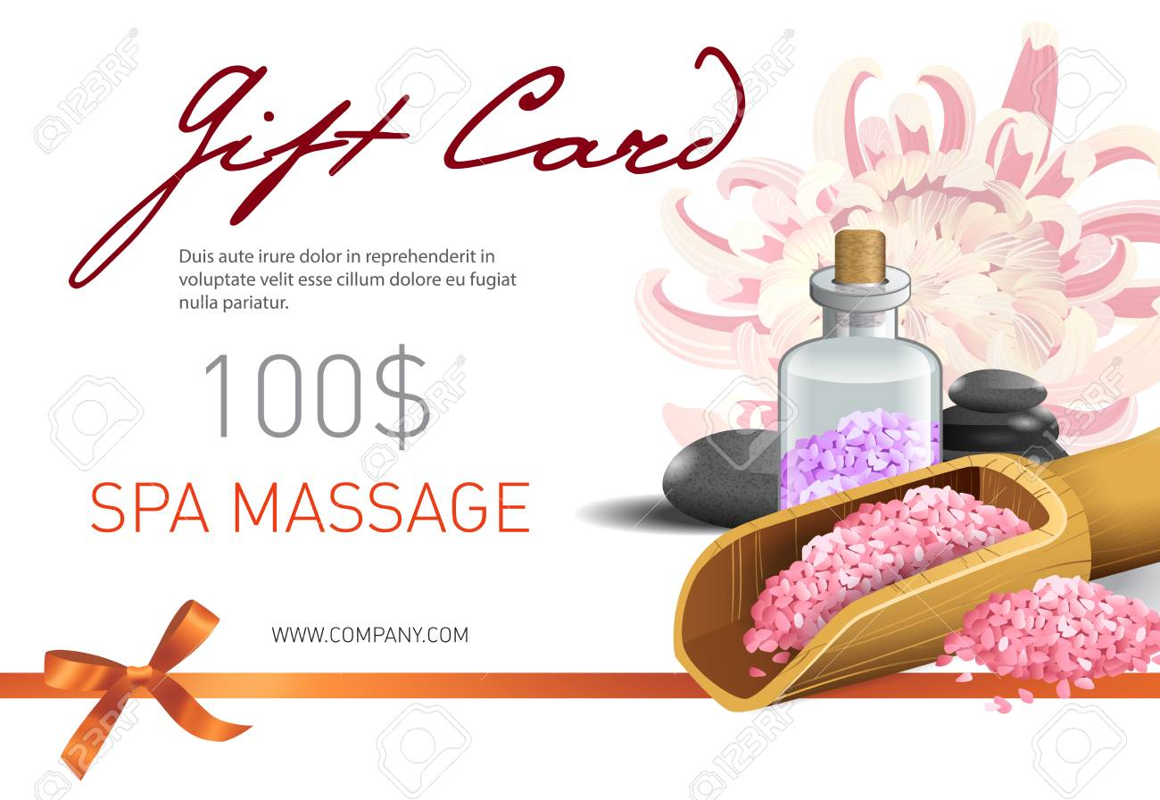 Gift Card Spa Massage Lettering And Pink Salt Spa Salon Gift Royalty Free Cliparts Vectors And Stock Illustration Image 103124969