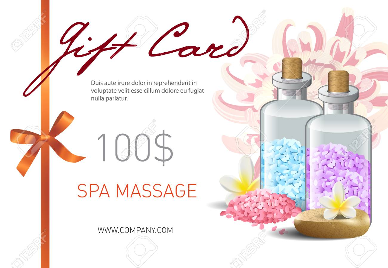Gift Card Spa Massage Lettering And Bottles With Salt Spa Salon Royalty Free Cliparts Vectors And Stock Illustration Image 103124992