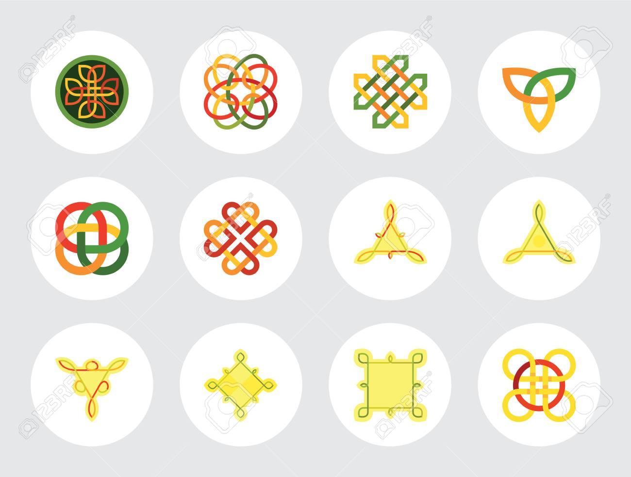 Celtic Ornament Icon Set Infinite Knot Endless Symbol Eternal