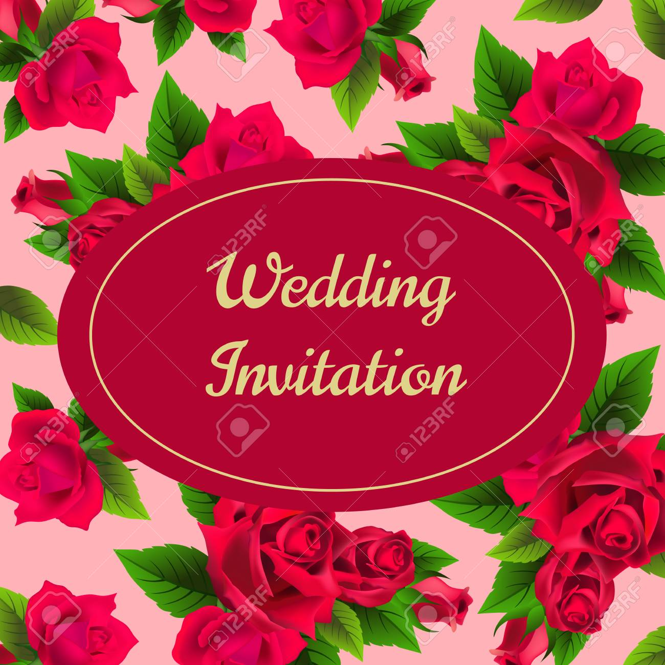 Wedding Invitation Card Design With Red Roses On Pink Background ...