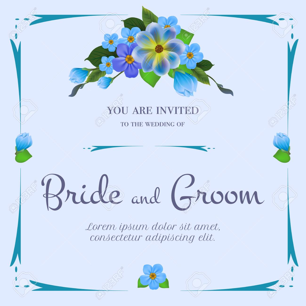 Wedding Invitation Design With Bunch Of Blue Flowers On Light Royalty Free Cliparts Vectors And Stock Illustration Image 103594567