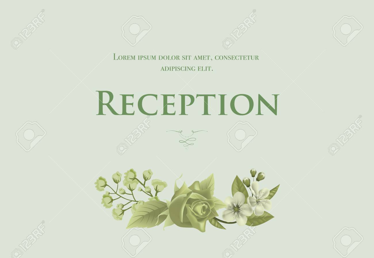 Wedding Reception Card Template With Blossom Rose And Lily Of