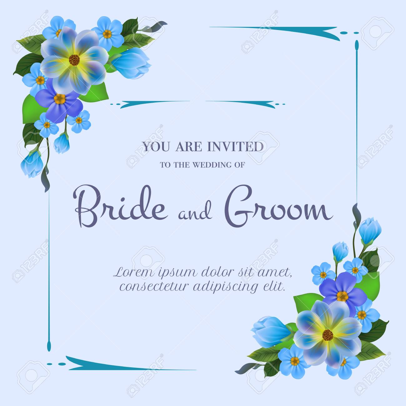 Wedding Invitation Design With Blue Flowers On Light Blue Background Royalty Free Cliparts Vectors And Stock Illustration Image 103594616