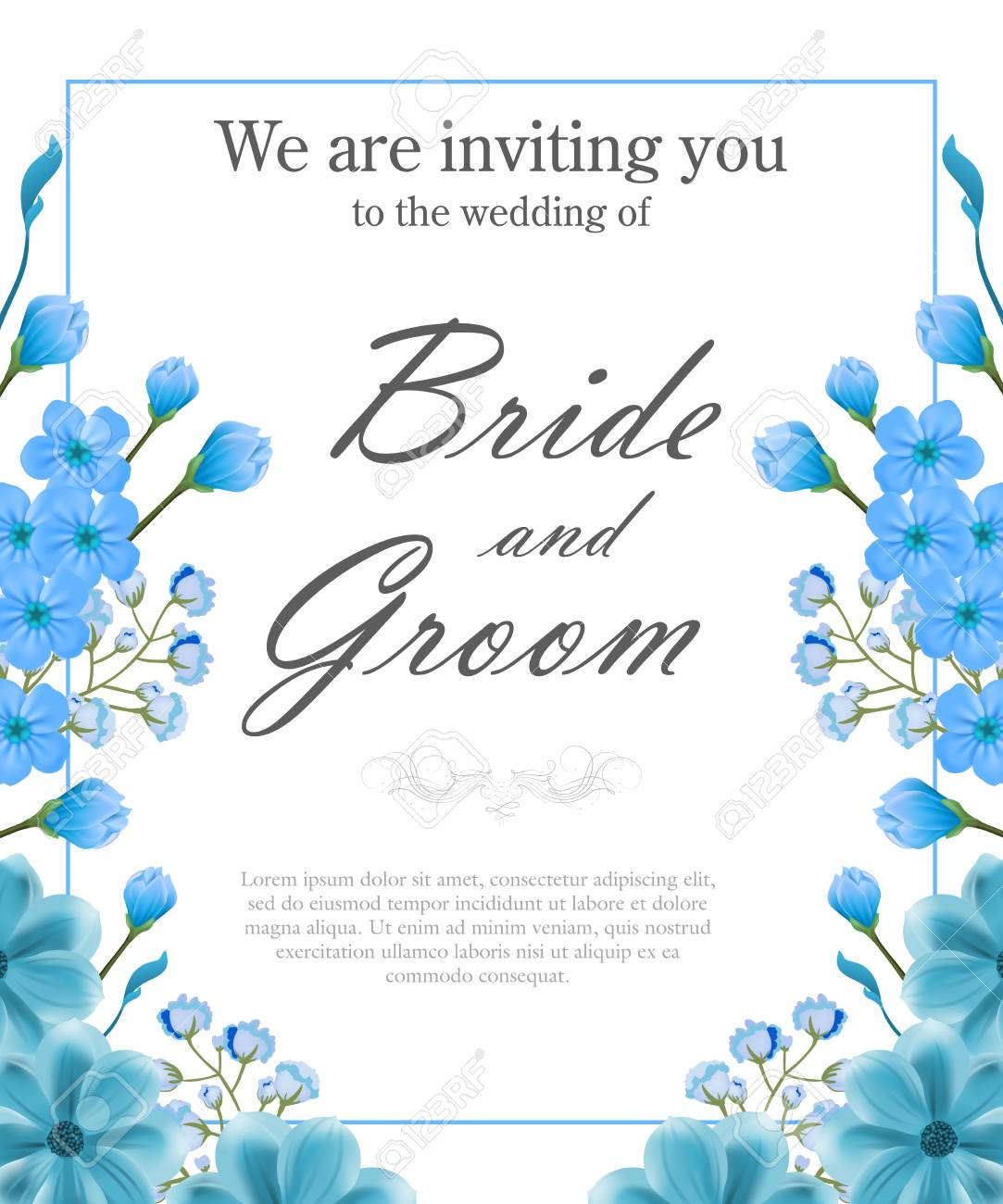 Wedding invitation template with blue frame and forget me nots