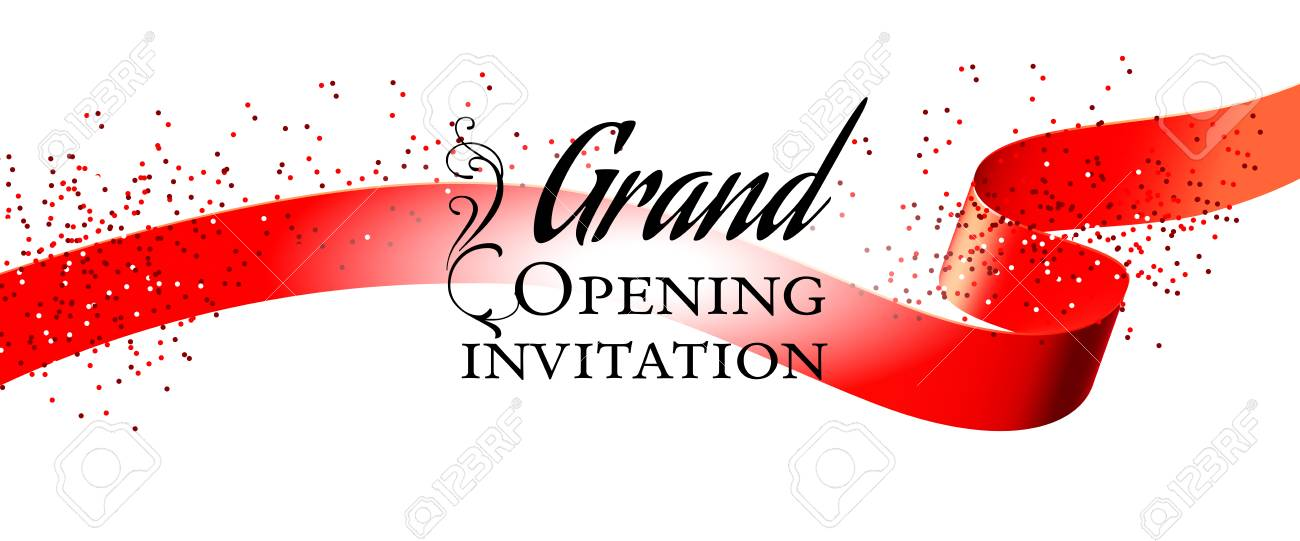 Grand Opening White Invitation Card Design With Red Ribbon And