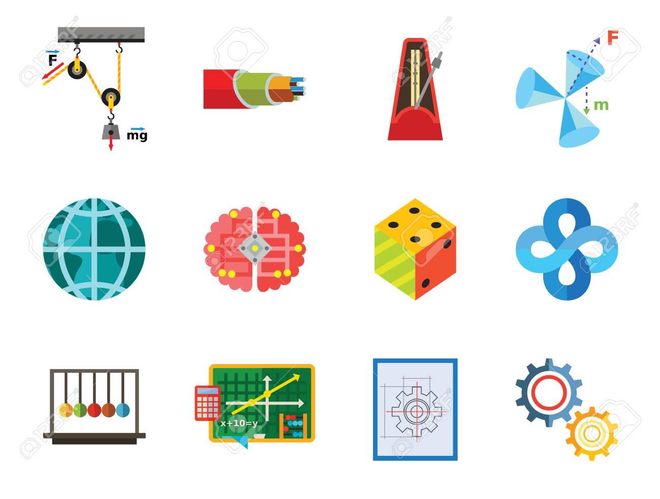 Education Icon Set Gear Wheel Drawing Metronome With Pendulum Logic Diagram Images Collision Balls Globe Cubes Philosophy