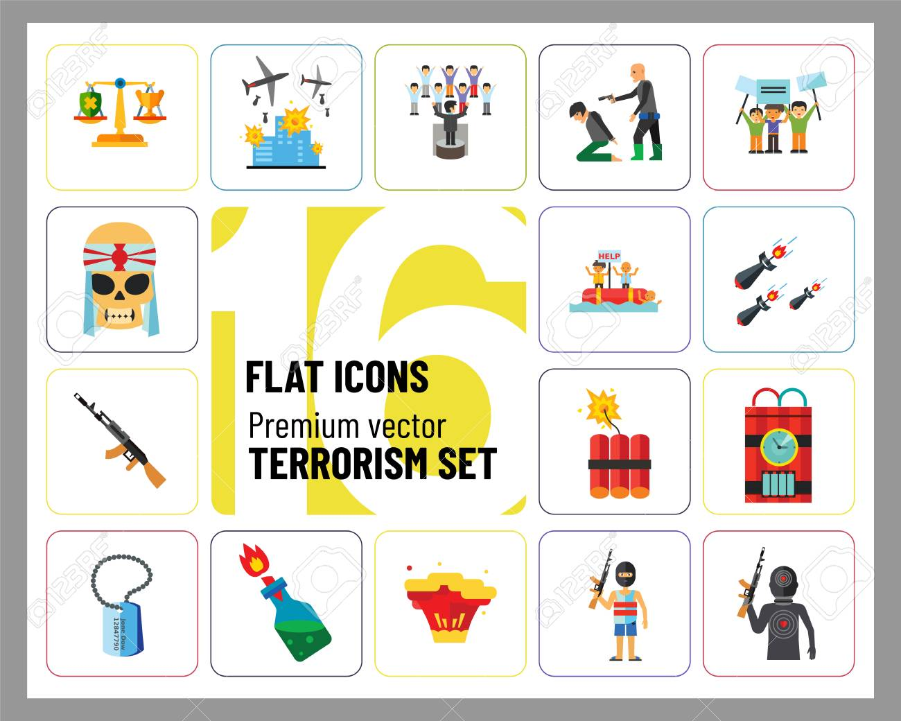Terrorism Icon Set. Kamikaze Fire Cocktail Dynamite Army Tags Hostage Bomb With Timer Machine Gun Missiles Explosion Refugees Terrorist Shooting Target War - 112323015