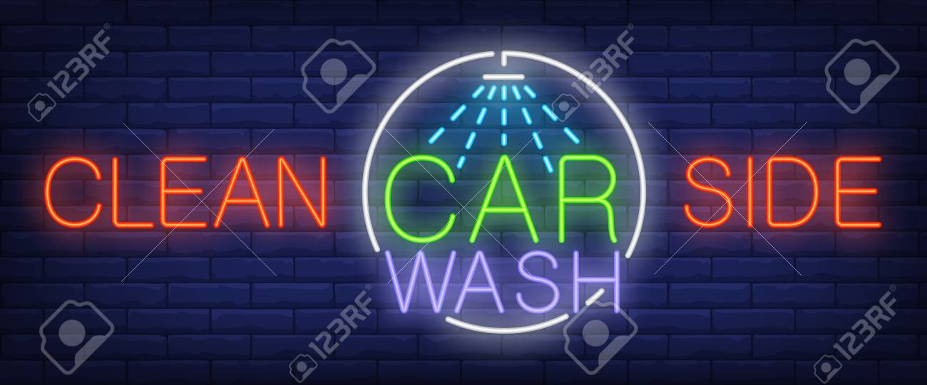 clean side carwash neon text with shower transport and car