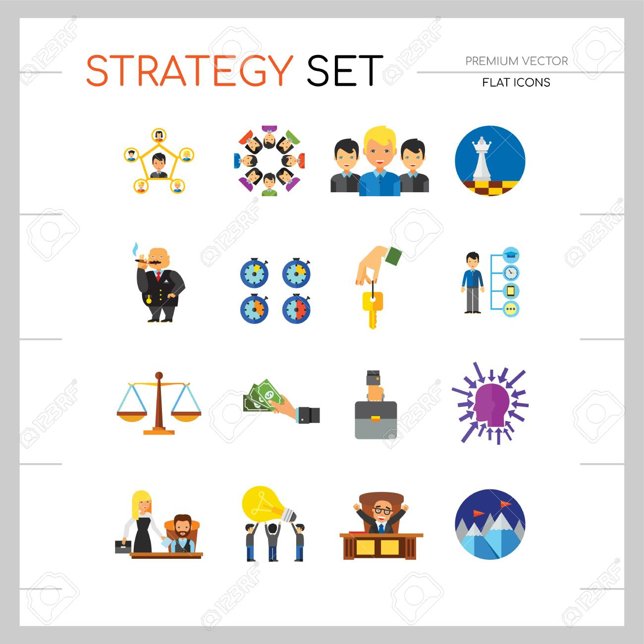 Strategy Icon Set  Team Structure Common Idea Director Executive