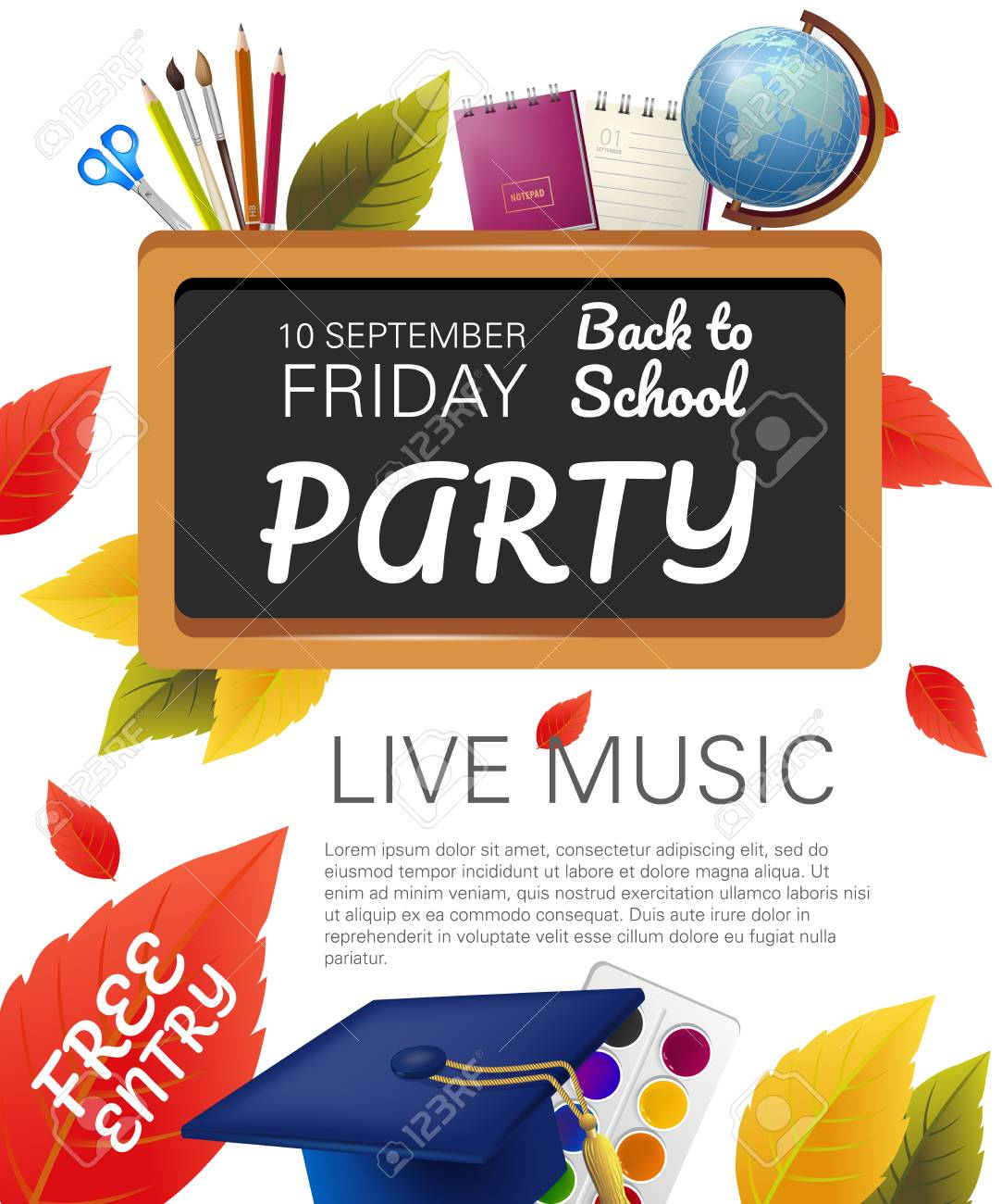 free entry back to school party flyer design with globe graduation