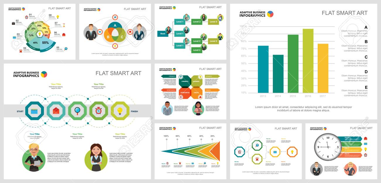 Colorful consulting or marketing concept infographic charts set