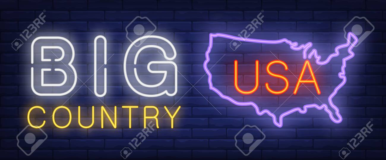 Map Of Usa At Night.Big Country Neon Text With Usa Map Silhouette Geography History
