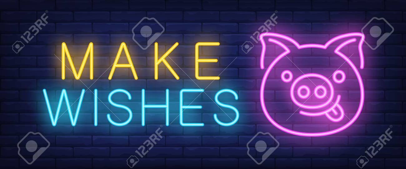 Make wishes neon text with funny pig face  New Year day and Christmas