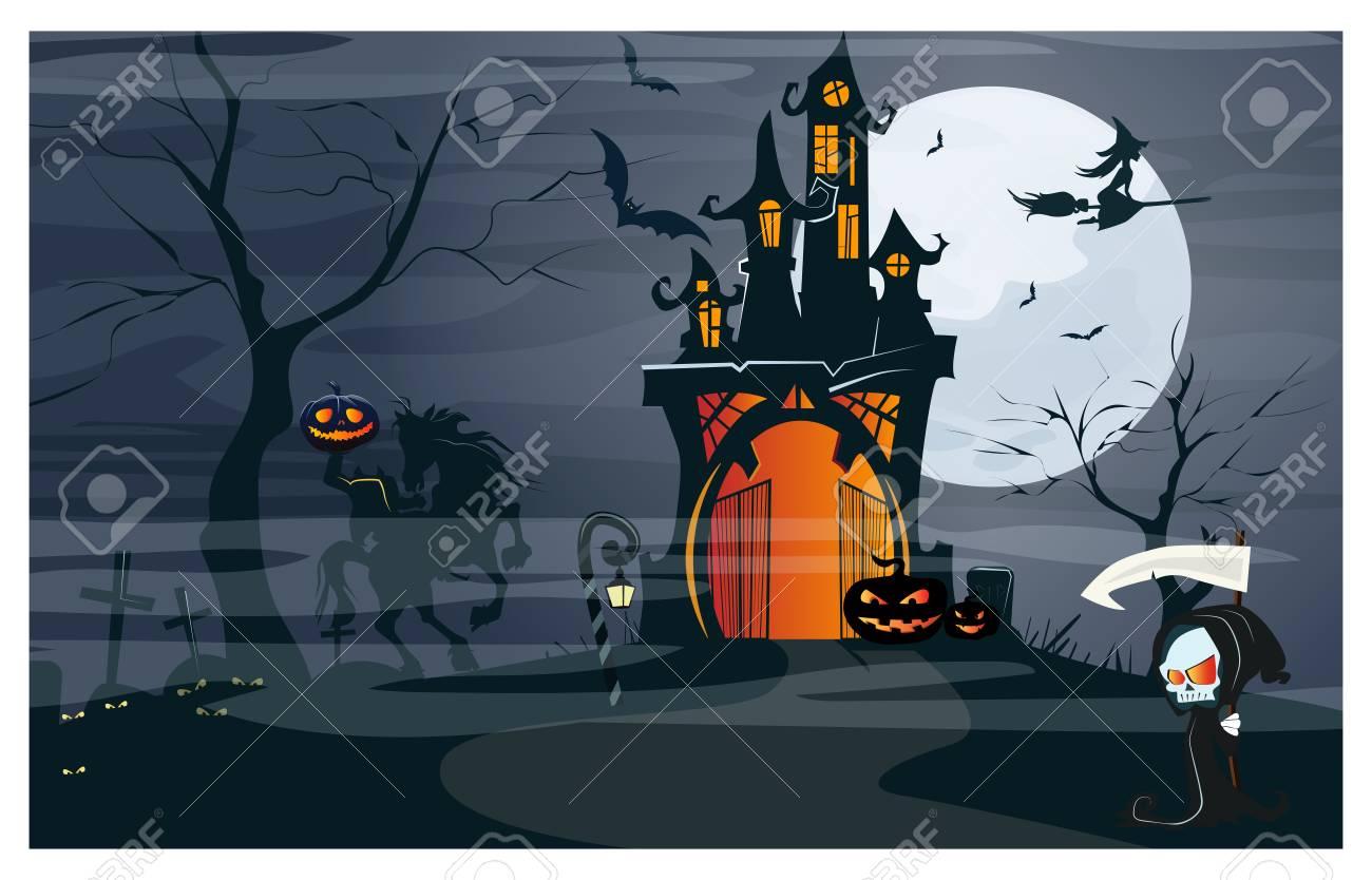 Haunted House Headless Horseman Pumpkins At Moon Night Vector Royalty Free Cliparts Vectors And Stock Illustration Image 111524131