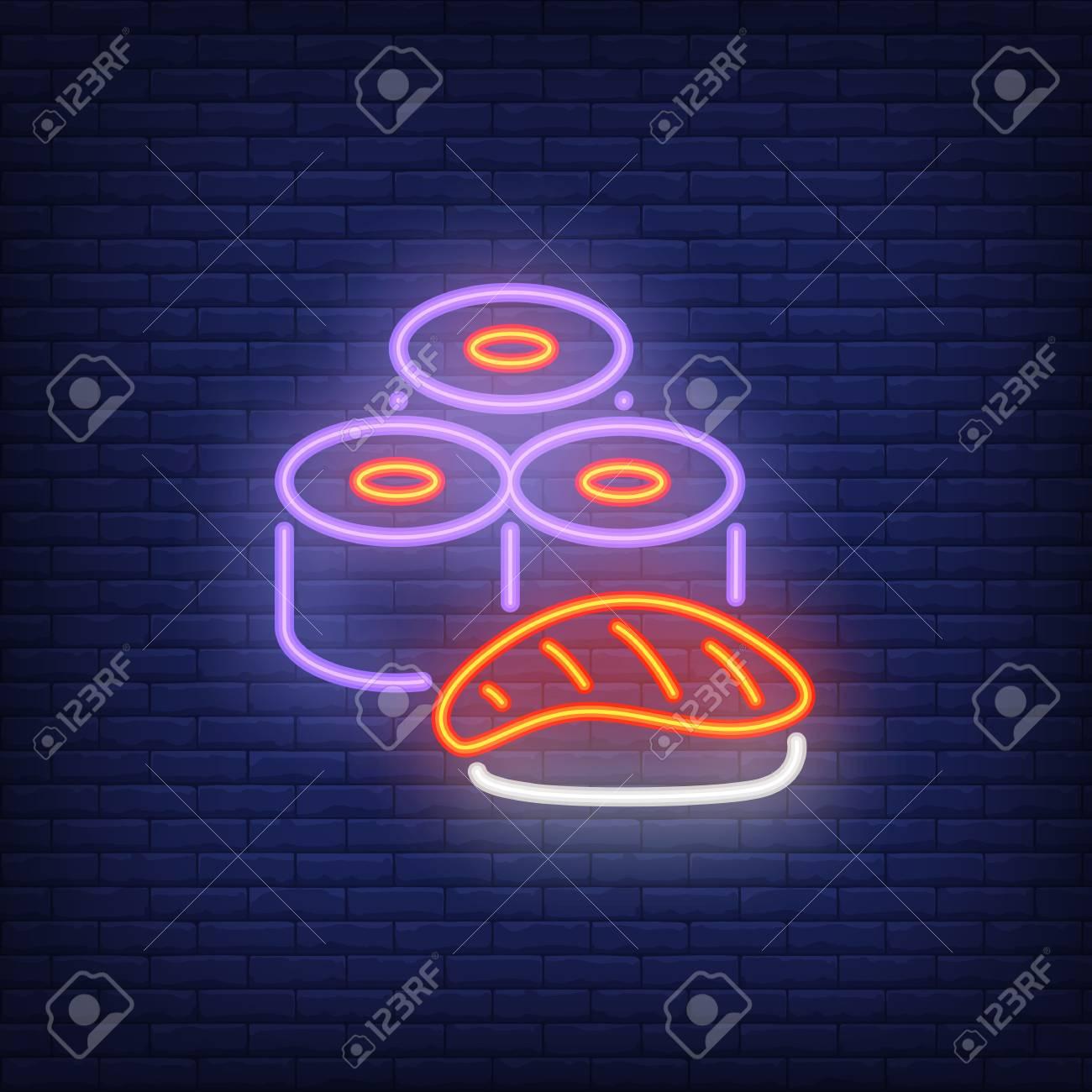 Sushi set neon sign  Food, restaurant, Japanese cuisine concept