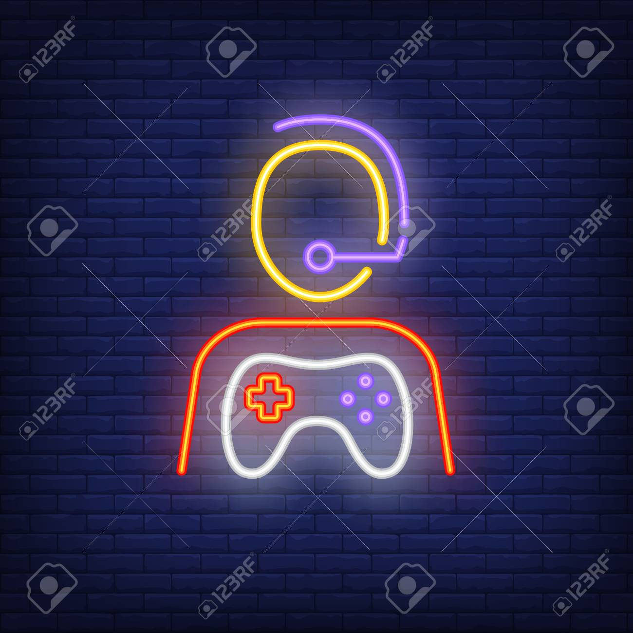 Gamer Neon Icon Shape Of Person In Headset With Game Controller Royalty Free Cliparts Vectors And Stock Illustration Image 110350266