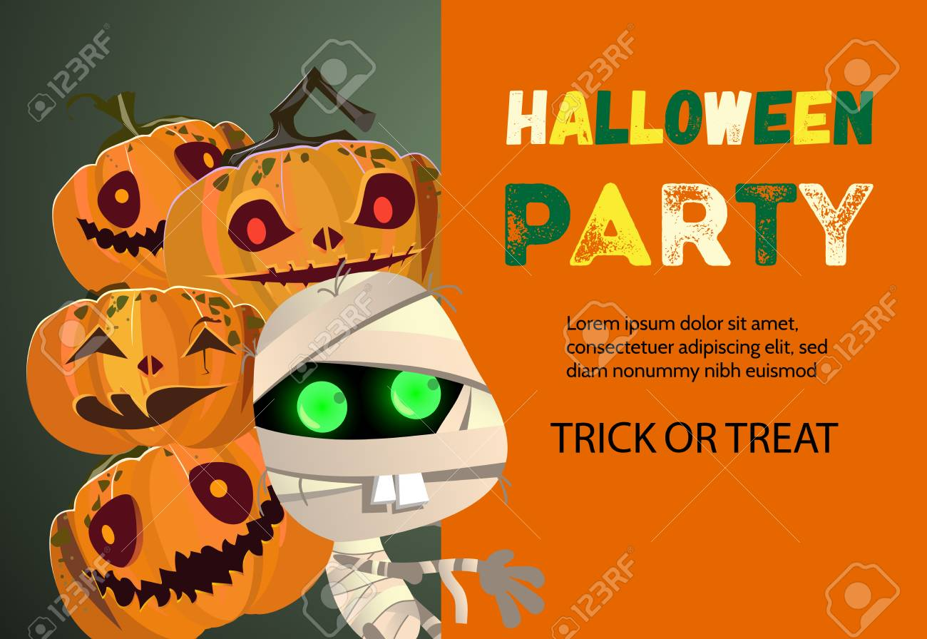 halloween party trick or treat orange banner design inscription