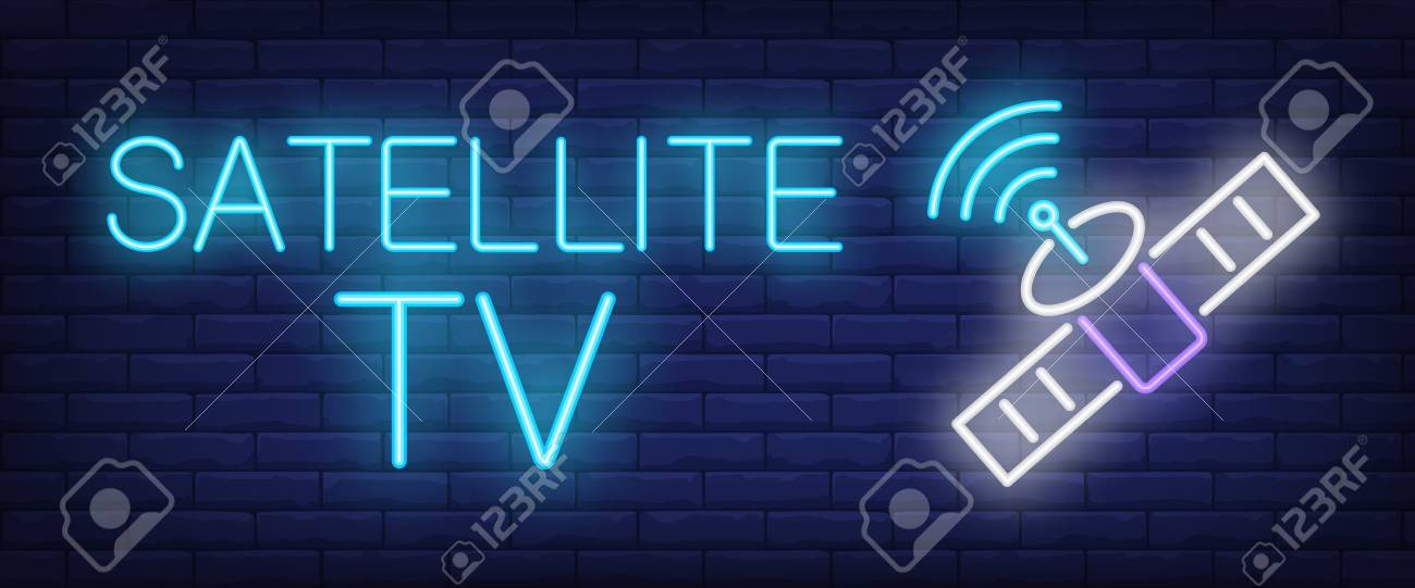 Satellite Tv And Internet >> Satellite Tv Neon Sign Satellite And Signal Symbol On Brick
