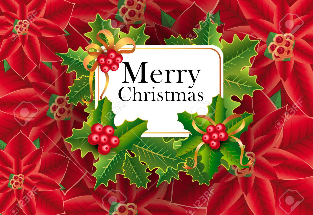 Merry Christmas greeting card design. Xmas berries and leaves..