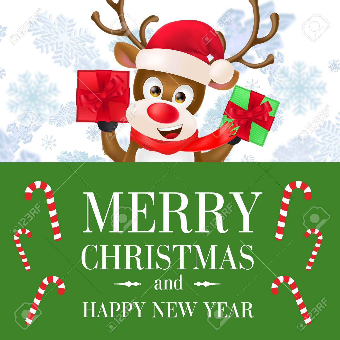 merry christmas and happy new year banner template green poster with candy canes and reindeer