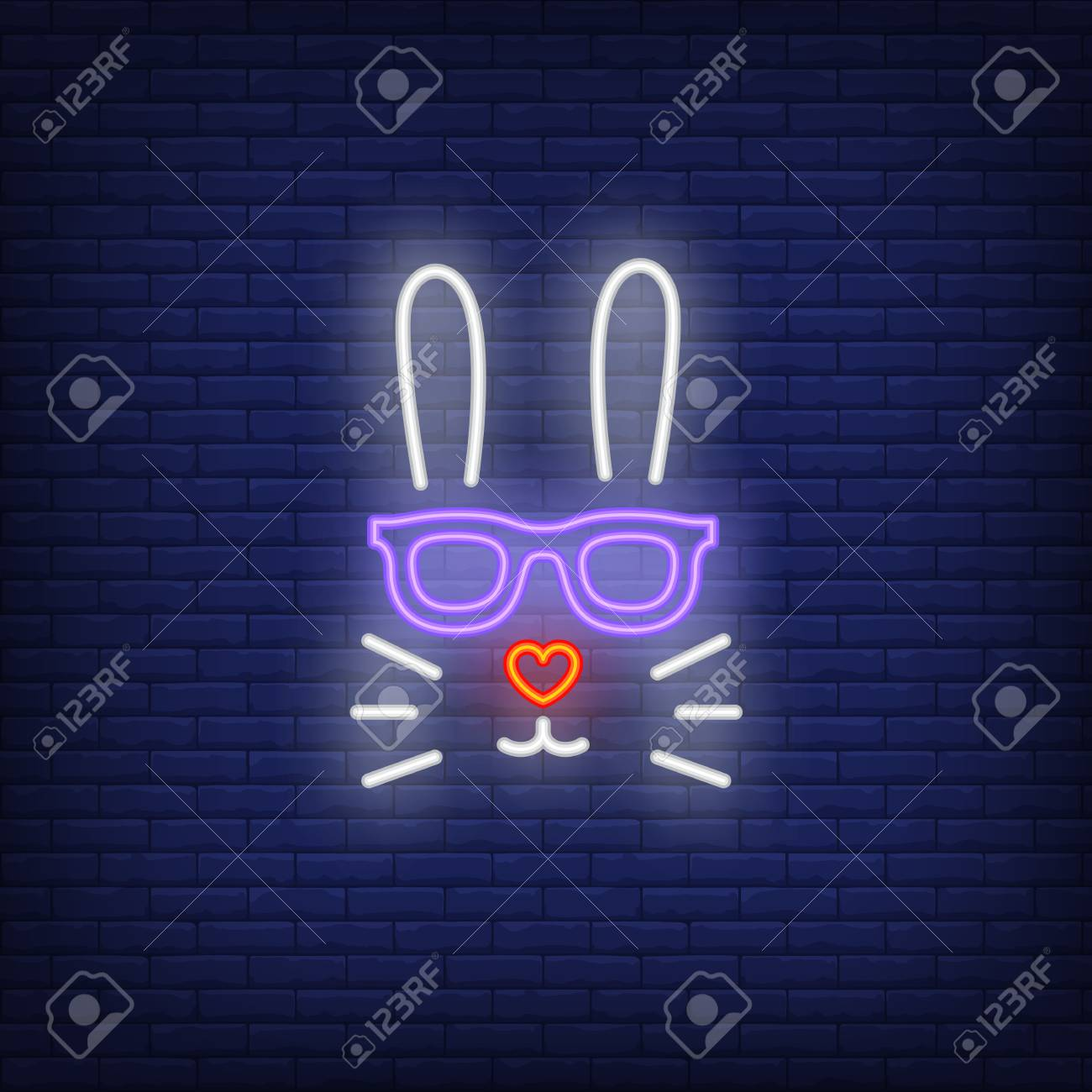 48c12b1694 Rabbit neon sign. Easter bunny face in sunglasses with heart shaped nose on  brick wall