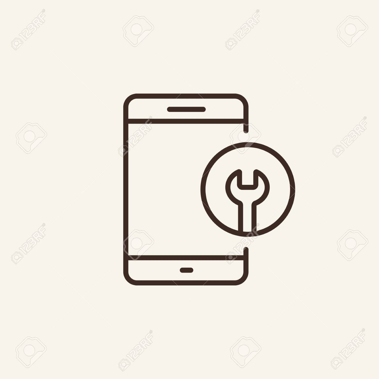 Telephone repair service line icon  Mobile screen and wrench