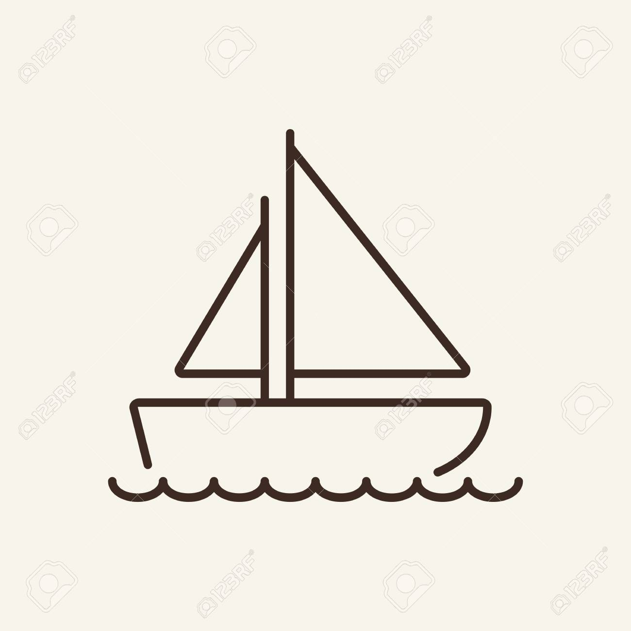 Sail boat line icon  Small boat on white background  Maritime