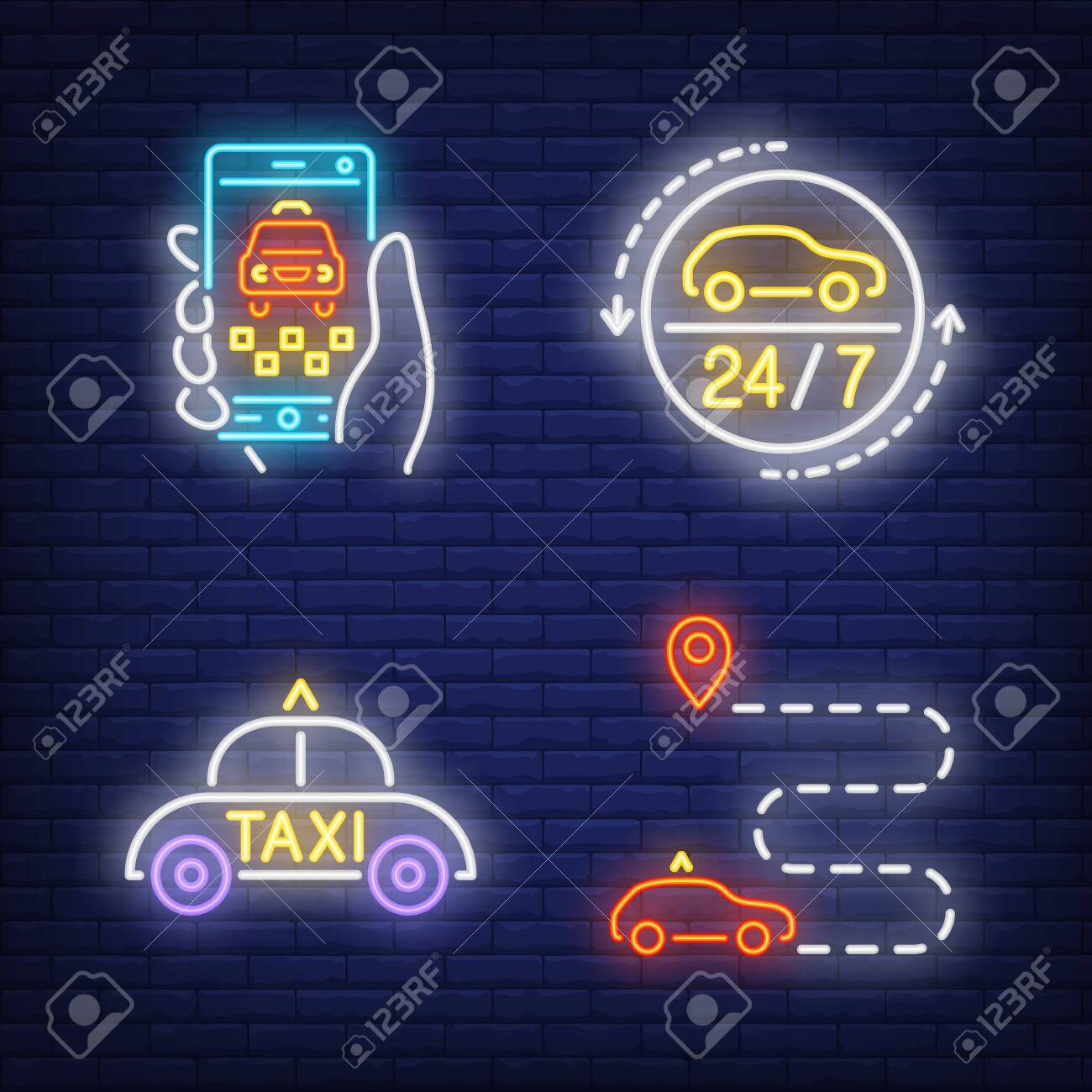 Taxi booking app, cab, route neon signs set  Transportation,