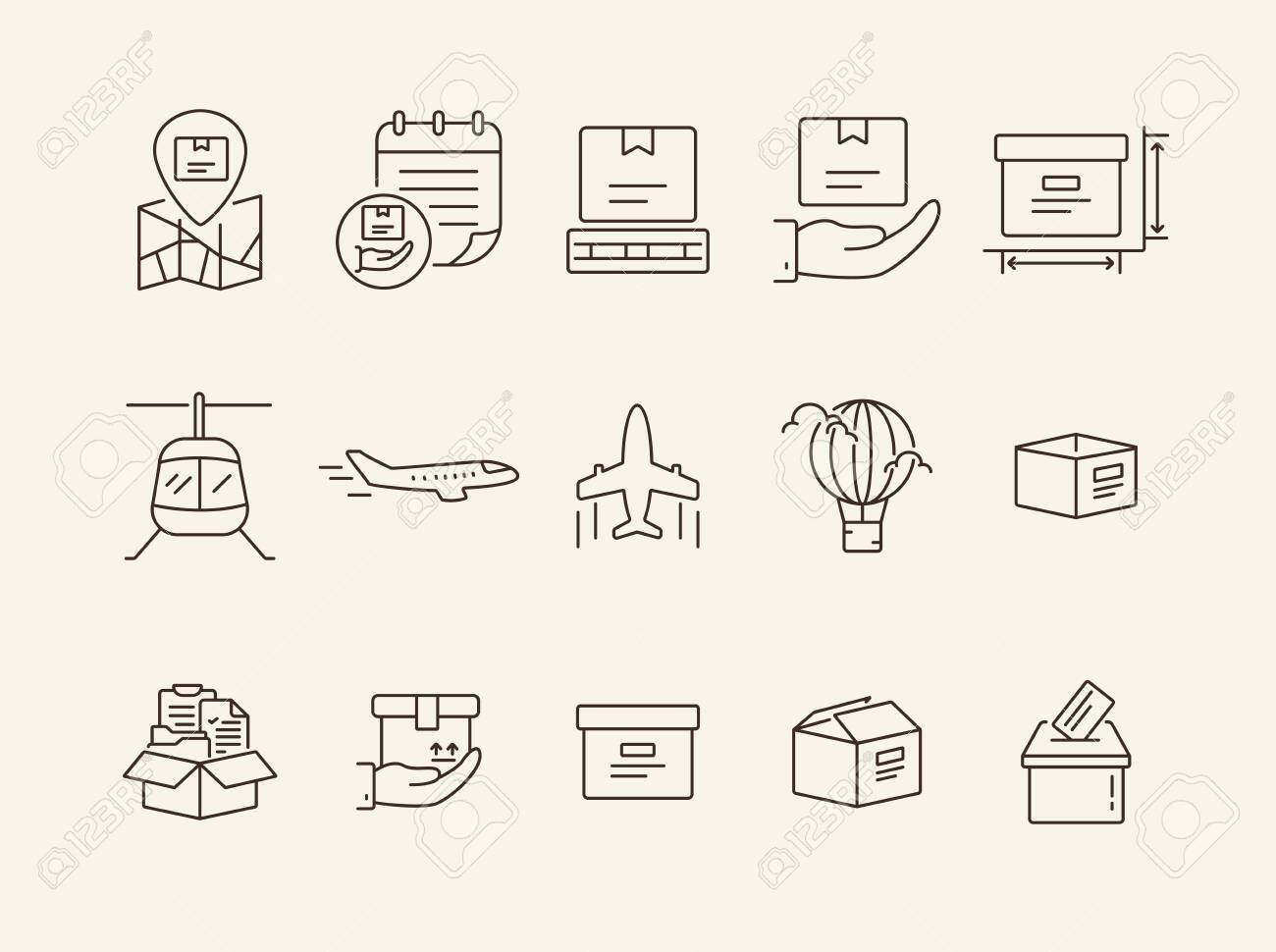 Air delivery icons  Set of line icons  Helicopter, parcel size,