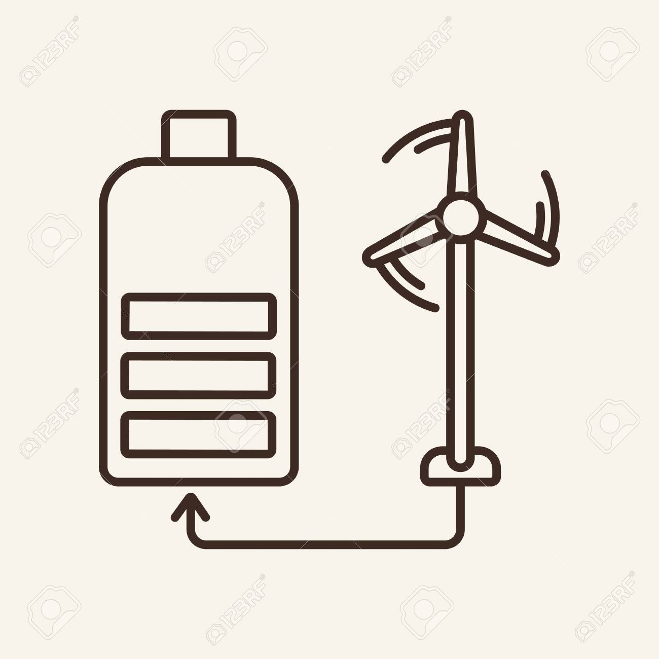 Energy Storage Technology Line Icon Windmill Battery Resource Royalty Free Cliparts Vectors And Stock Illustration Image 128230192