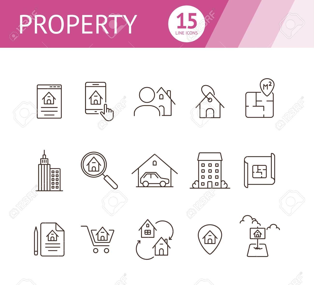 Property line icon set. House, garage, apartment, floor plan...