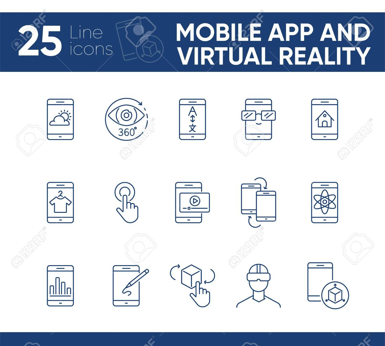 Mobile app and virtual reality line icon set  Technology concept