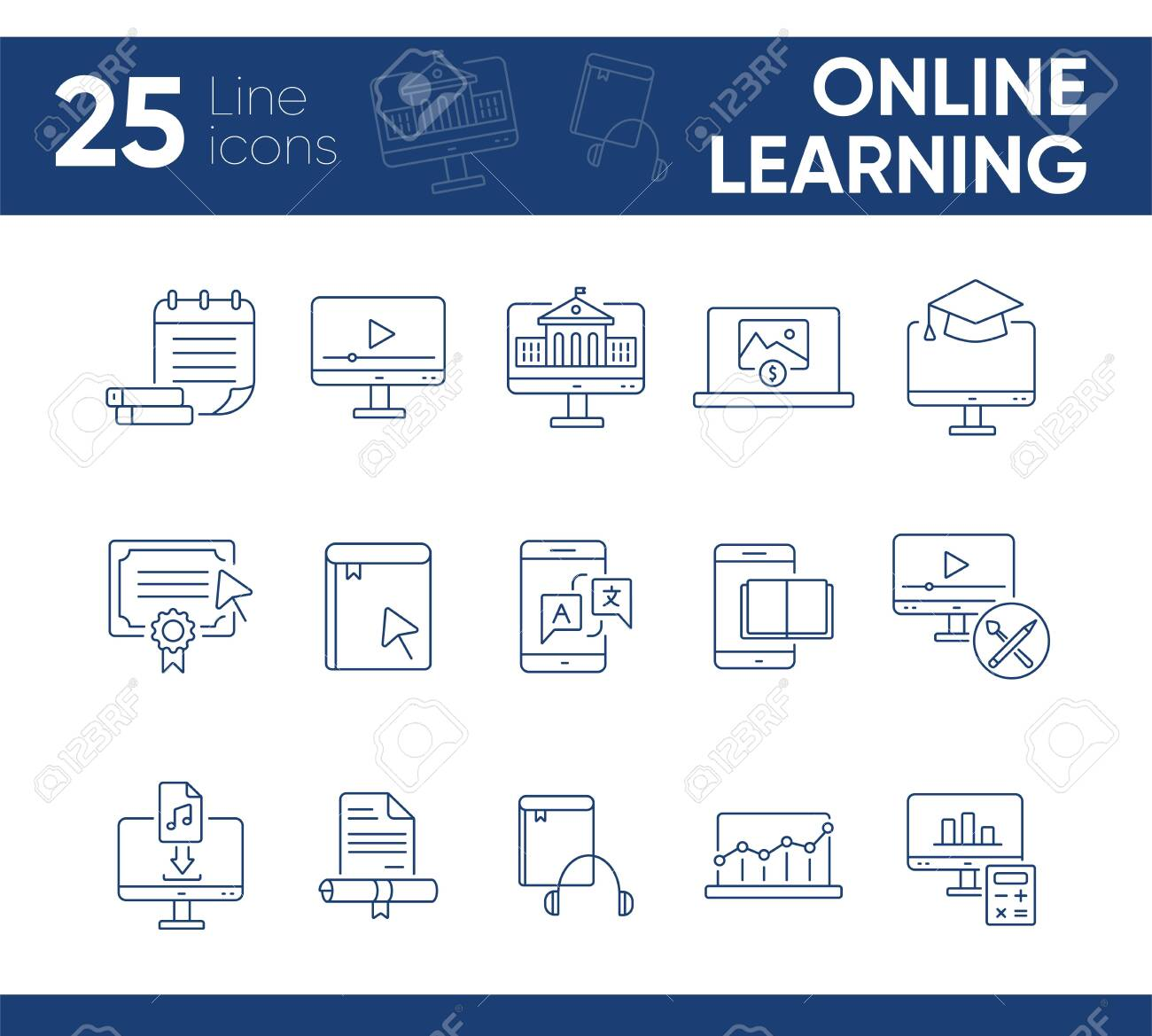 Online learning line icon set  Course, lection, educational video