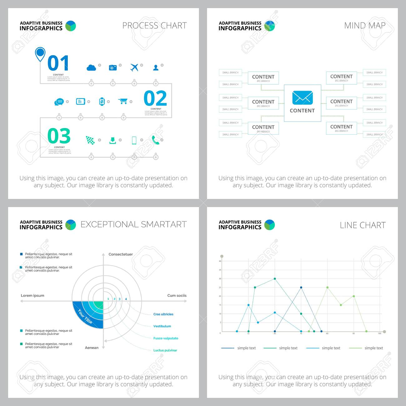 Adaptive infocharts layout set for statistics layout, annual analytics, slides, web design. Business and accounting concept with process diagram, flow and line charts - 135885294