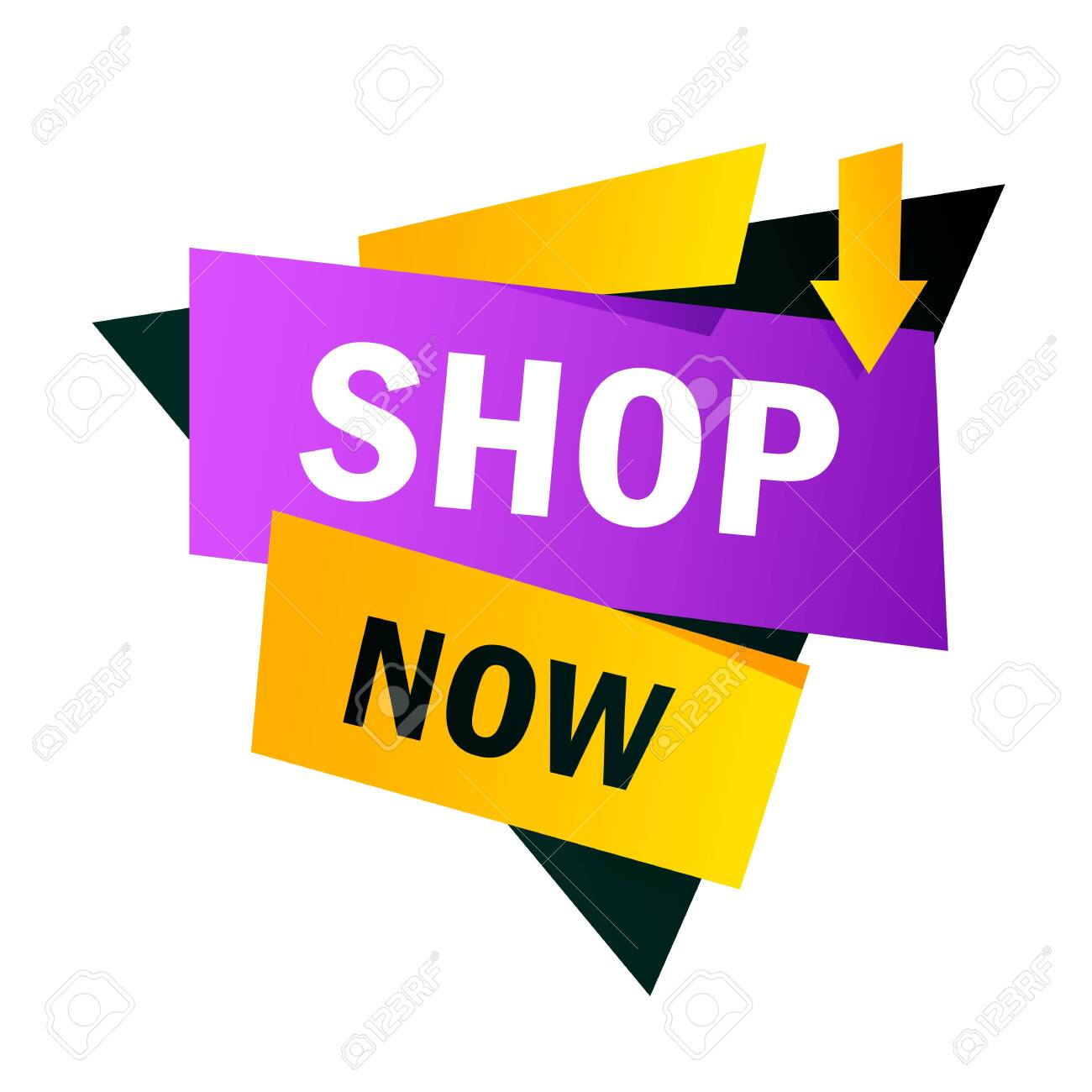 Shop now yellow and purple bright banner design. Triangle and arrow shape vector illustration. Abstract graphic element with text. Template for promotion poster, advertising label or flyer - 136437893