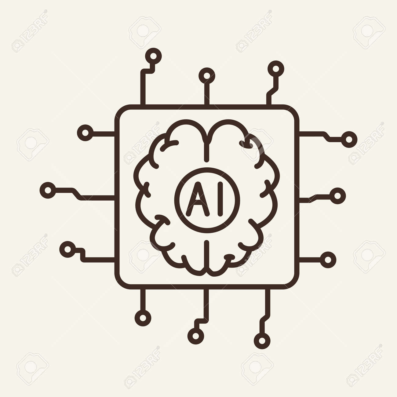 Embedded device thin line icon. Brain, chip, microchip, AI isolated outline sign. Artificial intelligence concept. Vector illustration symbol element for web design and apps - 144629553