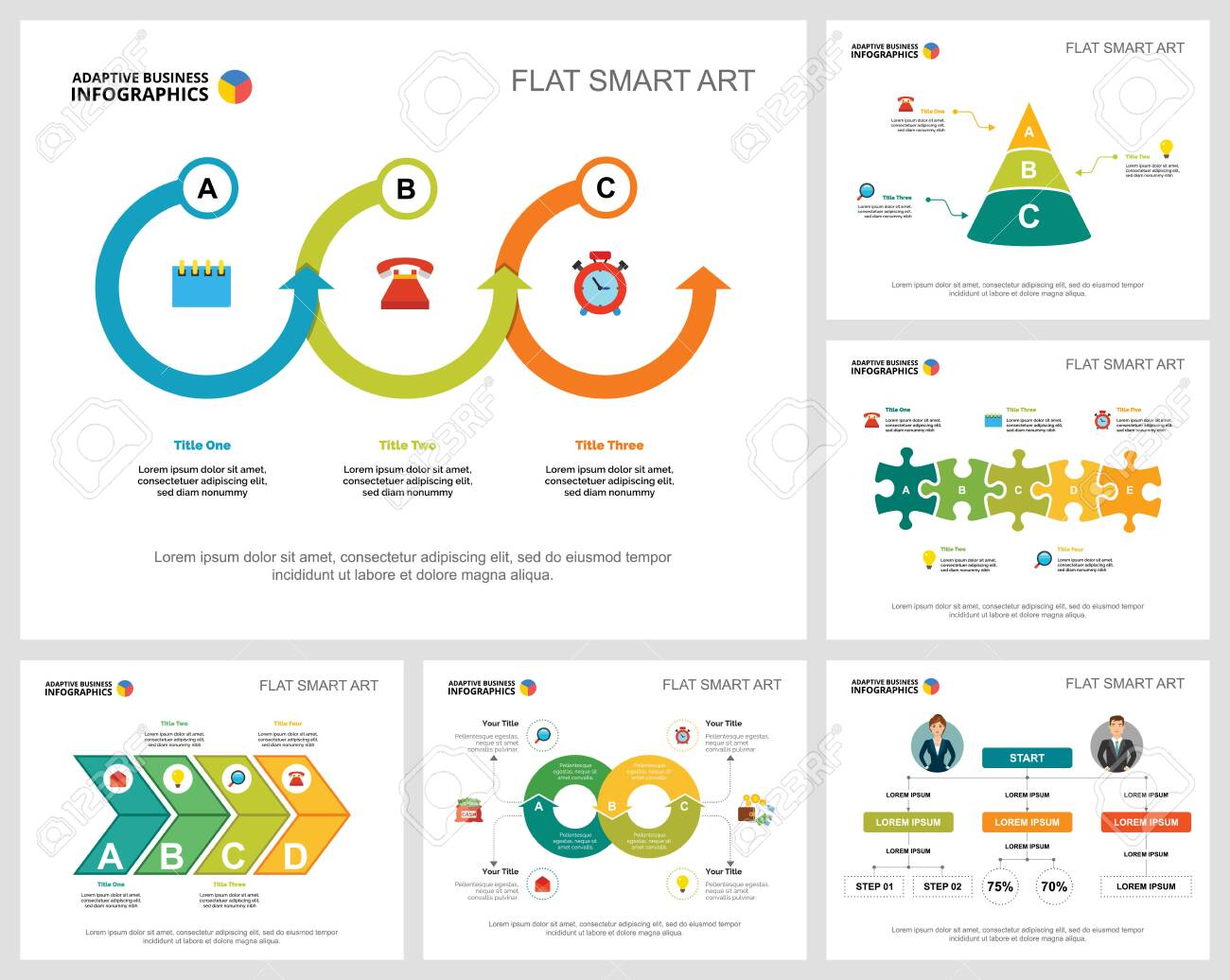 Colorful startup and management infographic charts set. Business design elements for presentation slide templates. Consulting concept can be used for annual report, flyer layout and banner design. - 140867280