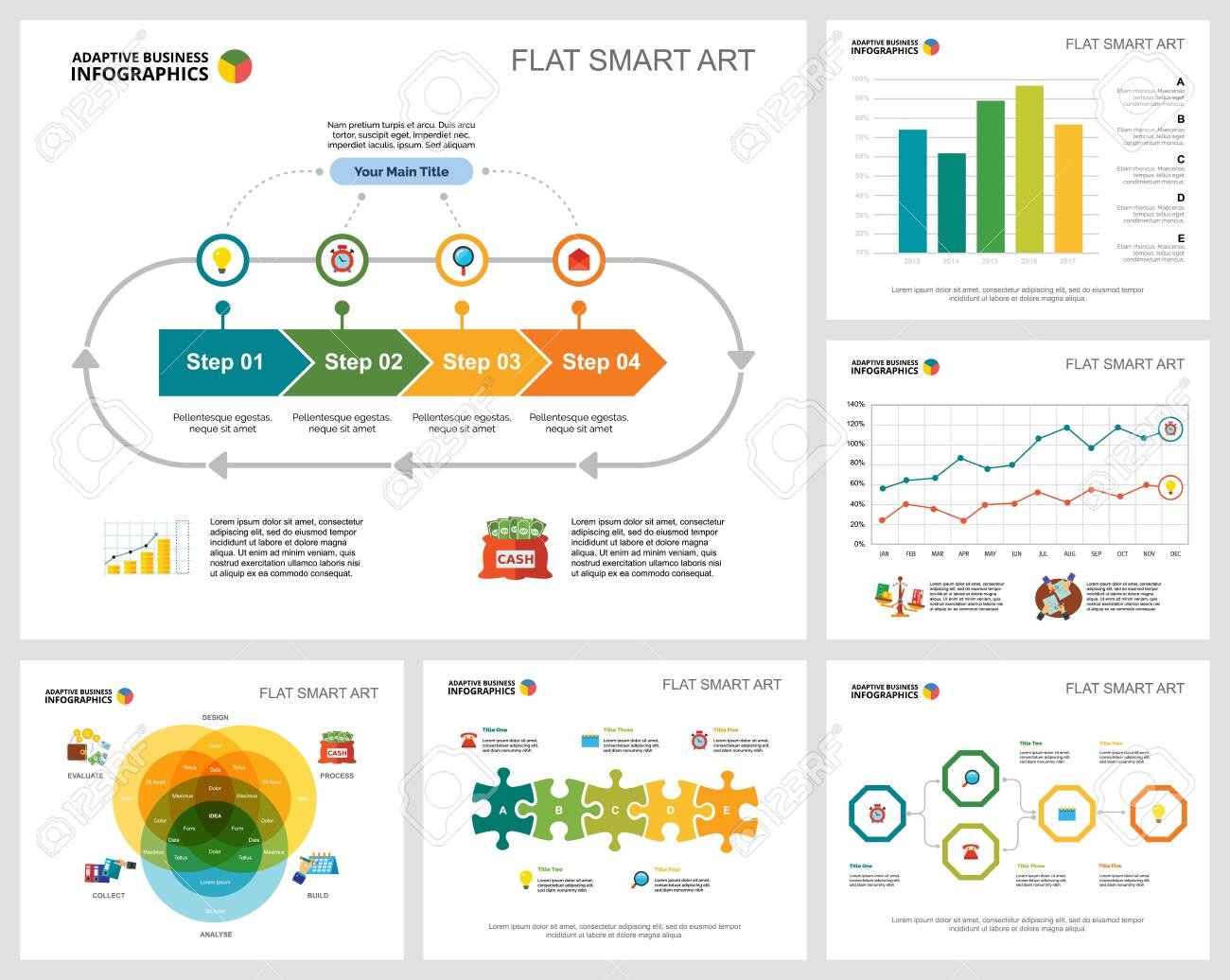 Colorful banking or planning concept infographic charts set. Business design elements for presentation slide templates. Can be used for financial report, workflow layout and brochure design. - 140867273