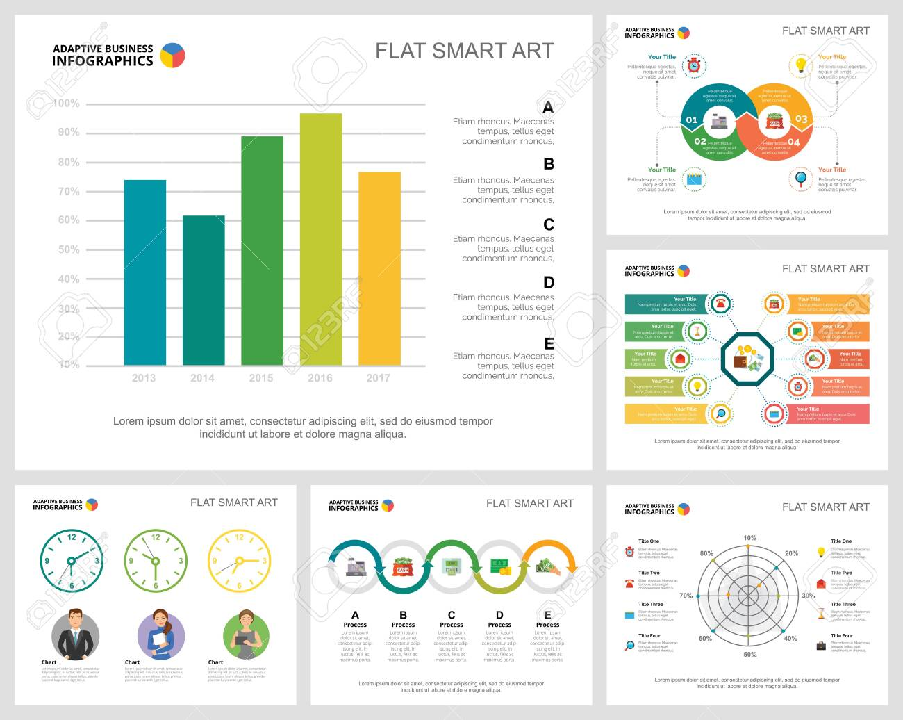 Colorful analytics or consulting concept infographic charts set. Business design elements for presentation slide templates. Can be used for financial report, workflow layout and brochure design. - 140874034
