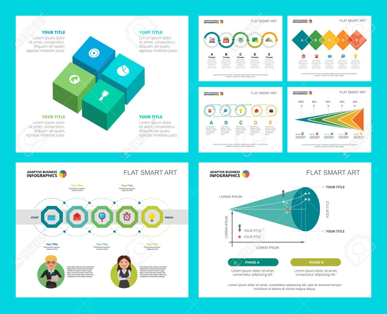 Colorful finance and research concept infographic charts set. Business design elements for presentation slide templates. Can be used for annual report, advertising, flyer layout and banner design. - 141302507