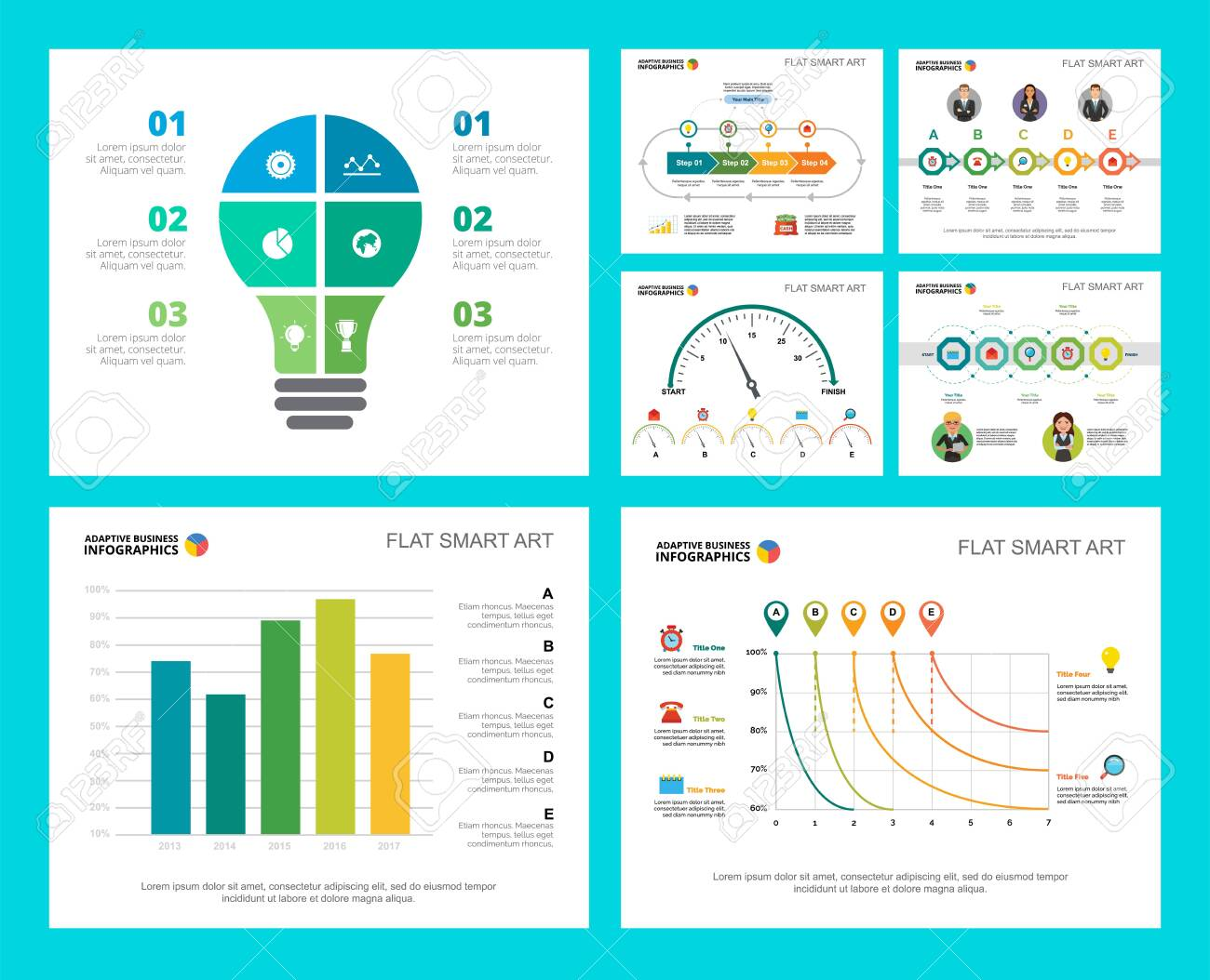 Colorful research or management concept infographic charts set. Business design elements for presentation slide templates. Can be used for financial report, workflow layout and brochure design. - 141302512