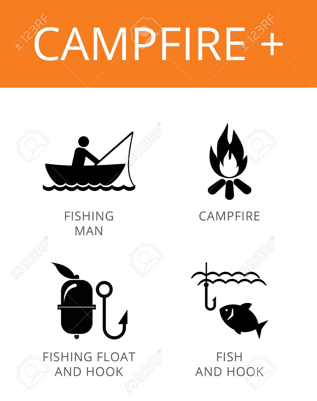 Campfire plus icons set. Simple illustrations of campfire, fisherman, fishing float and hook - 146670183