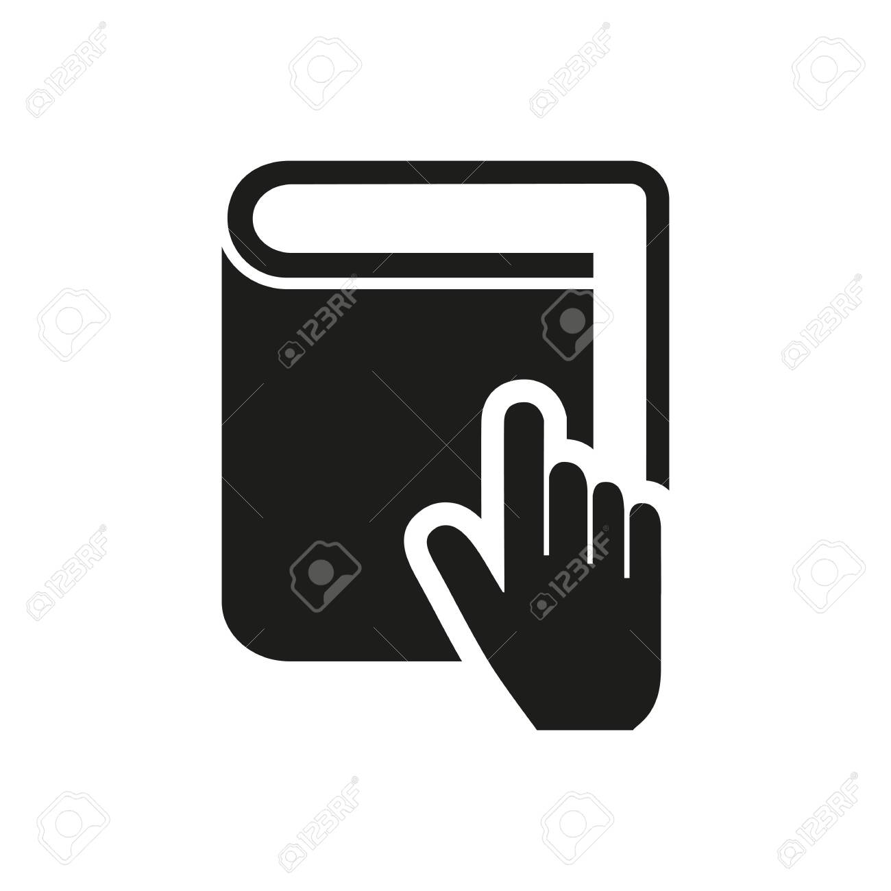 simple icon of hand pointing at book cursor choice reference stock photo picture and royalty free image image 148145465 123rf com