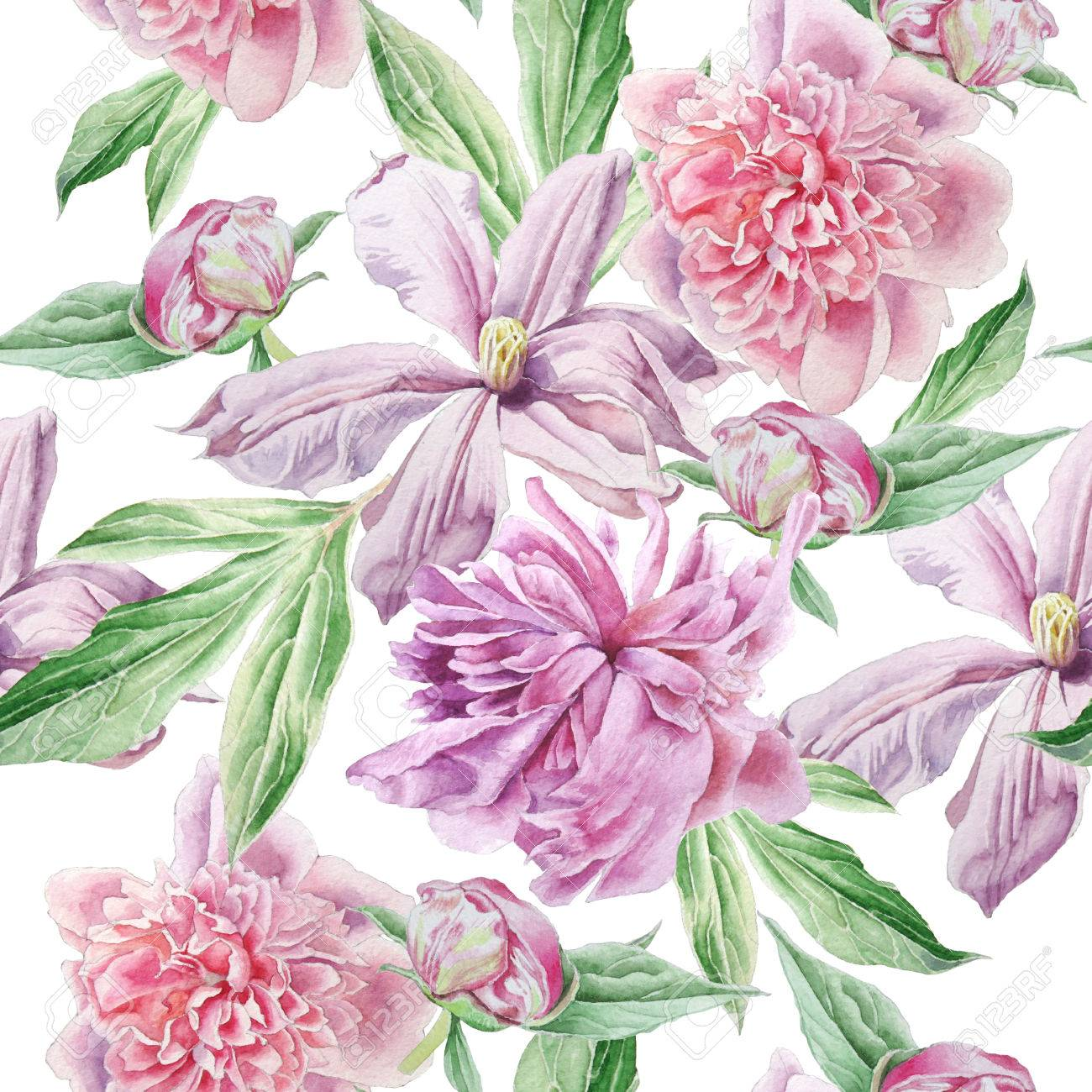 Seamless pattern with spring flowers peony clematis watercolor seamless pattern with spring flowers peony clematis watercolor stock photo 74333476 mightylinksfo