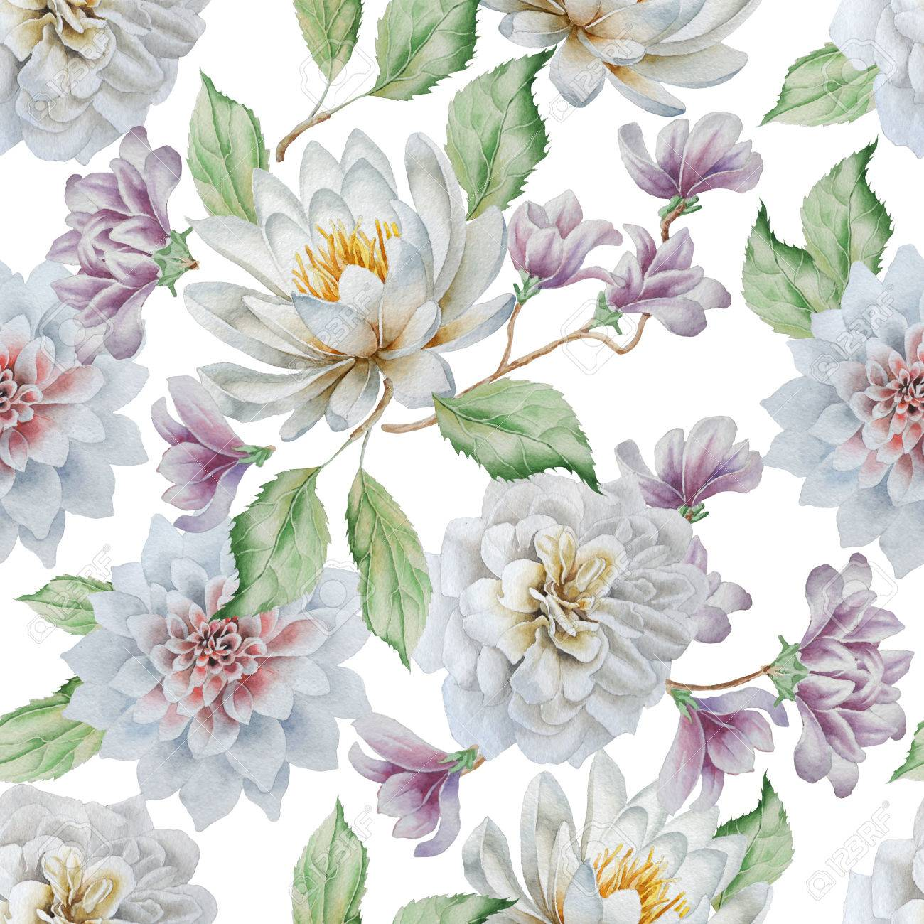 Seamless Pattern With Flowers Lily Rose Watercolor Hand Drawn
